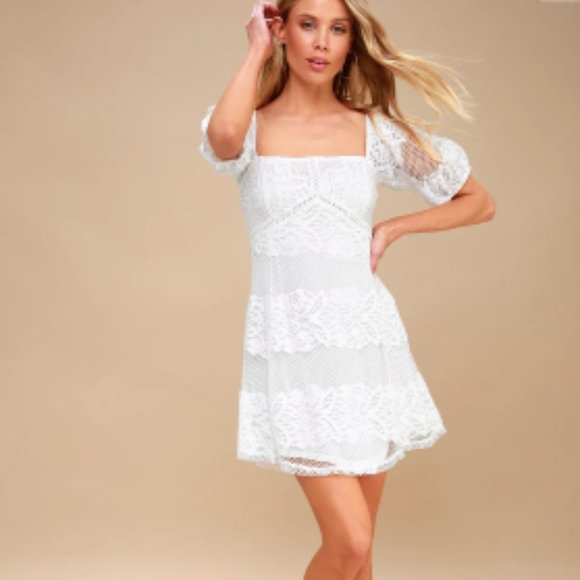 Free People Dresses & Skirts - Free People Be Your Baby White Lace Babydoll Dress